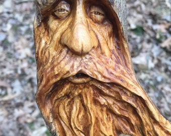 Wood Carving, Perfect Wood Gift for Him or Her, Rustic Wall Art, Old Man Sculpture, by Josh Carte, Hand Carved Wood Art, Original Art