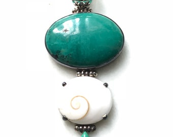Vintage Sterling Silver Turquoise with Mother of Pearl Pendant