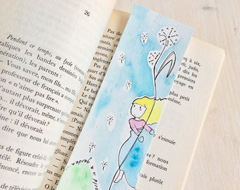 Mary and the Dandelions bookmark with original illustration in watercolor inspired by the book The Secret Garden. Write your own message