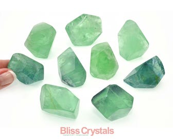 1 Rainbow FLUORITE Polished Polygon Green Healing Crystal and Stone for Memory Focus Protection #FP12
