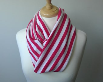 Pink and White striped infinity scarf