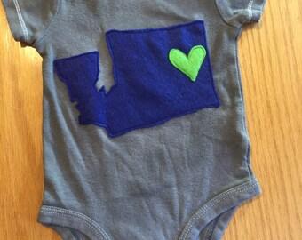 Washington State Love Onesie! (Custom made)