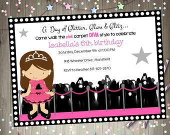 Hollywood diva birthday party invitation invite hollywood party glamour party diva party dress up party  invite digital diy party printable