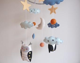 Sweet Dreams Mobile - Owl mobile - Wool Felt mobile - Baby crib mobile - Woodland Nursery