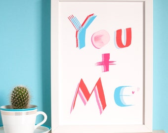 Single Mum Print,only child gift,to a mum,mummy and me,You and Me,unframed print,A4 size, love print,valentine or mother's day,inkpaintpaper