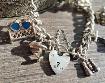 Gardener's Vintage Charm Bracelet. Sterling Silver. Vintage Gifts for Gardeners.