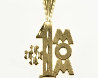 14k #1 Number One Mom Mother Pendant Gold