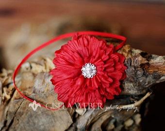 Red Baby Headband, Newborn Headband, RED Newborn Headband, Valentine Baby Headband
