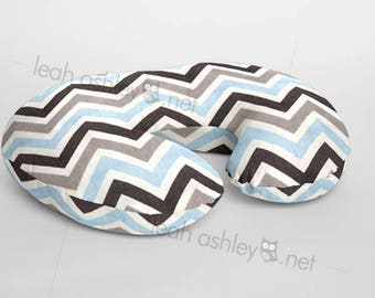 Boppy® Cover, Nursing Pillow Cover - Baby Blue, Gray Chevron MINKY - (Baby Blue, Gray, Charcoal, White) - BC1