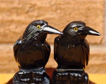 Black Onxy Raven,  Raven Stone Carving