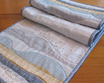 Quilted Tablerunner / Grey and Blue Table Runner / Modern Home Decor