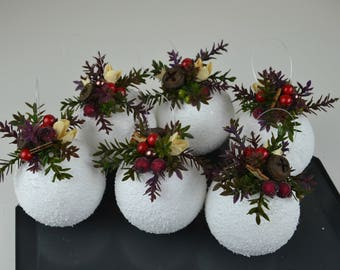 Christmas ornaments, Christmas tree ornaments, Natural ornament, Xmas decoration, Snowball, Vase filler