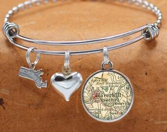Map Bracelet Haverhill Massachusetts State of MA Bangle Cuff Bracelet Vintage Map Jewelry Stainless Steel Bracelets