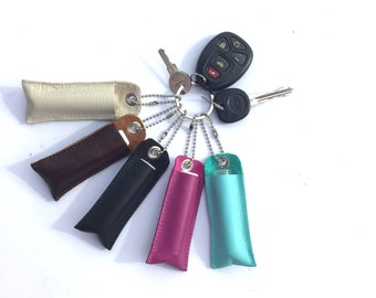 Ships free! Leather lipbalm holder, lipbalm keychain, lipbalm zipper pull