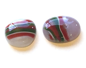 Green & Red Fused Art Glass Cabochons