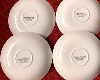 Johnson Brothers England Provincial-set of 4 Flat Cups & Saucers