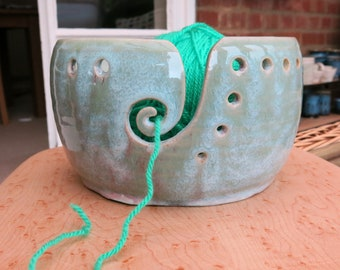 Yarn Bowl, Handmade wheel thrown, knitting and crochet bowl