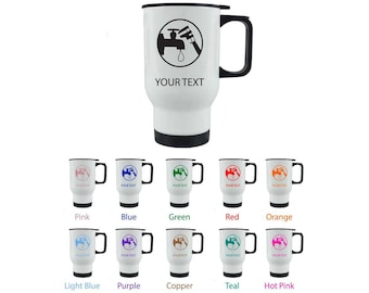 Personalized Custom 14 Oz Plumber White Stainless Steel Pick Your Font/Image Color Travel Coffee Cup Mug Holiday Gift