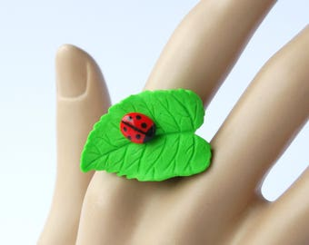 Cute ladybug on a leaf adjustable ring cute insect bug ring jewelry handmade polymer clay