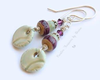 On Sale, Plum Porcelain Beads, Aqua Porcelain Discs, Aquamarine Gemstones, Purple Sterling Silver Earrings, Amethyst Swarovski Crystals