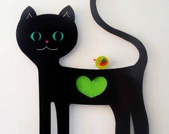 SALE | Black cat, Kids coat hook, Coat hanger, Kids wall decor, Cat lover gift, Wall coat rack, Scandinavian design, Kids coat rack, Cat
