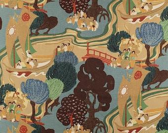 SCHUMACHER PEARL RIVER Chinoiserie Toile Linen Fabric 10 Yards Jade Multi