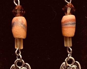 Harp Angel Earrings in Amber