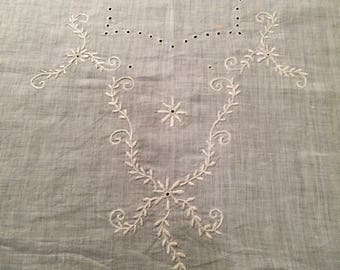 Vintage Hand Embroidered Panel for a Bodice and Cuffs
