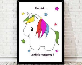 Unicorn Rainbow print - Wall paper - Poster