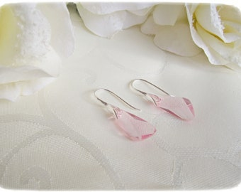 Light Rose Swarovski Crystal Earrings and coulomb set, Sterling Silver Leverback Earrings