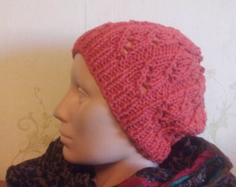 Red lace knitted hat, autumn hat,  silk and cotton