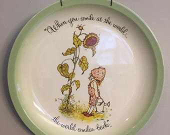 Vintage Holly Hobbie plate + hanger / 1972 Collector's Edition porcelain plate /American Greetings collectible / When you smile at the world