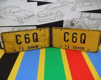 "1971 OHIO LICENSE PLATES...""C 6 Q""...Collector...Anniversary?...Birthday?...Or Just Plain Old Garage Art!"