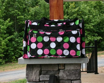 Girls Monogrammed Large Black Dottie Duffel Bag