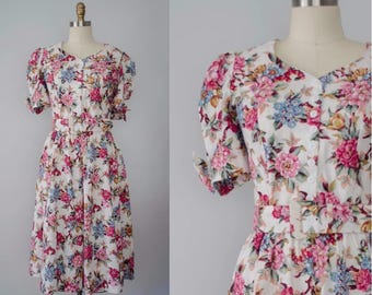 white floral sun dress | pink floral fit and flare dress | medium
