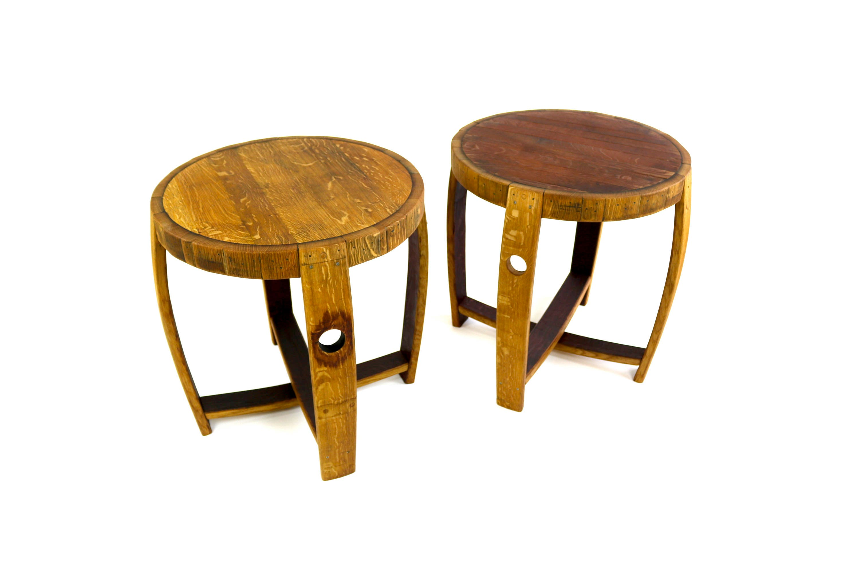 Wine Barrel End Table Reclaimed Wood Table Barrel Side