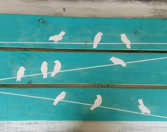 Rustic Birds On A Wire Reclaimed Wood Pallet Wood Distressed Wall Decor