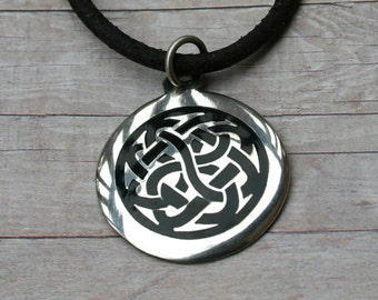 Leather Necklace With Modern Celtic Knot Pendant Surfer 3mm distressed cord