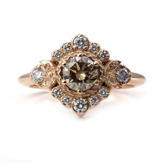 Champagne and White Diamond Engagement Ring - Moon Halo Boho Fine Jewelry