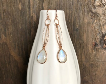 Moonstone and rose gold earrings, moonstone earrings, rose gold moonstone earrings