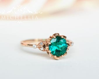 Vintage Floral Ring in Lab Emerald, Lab Emerald Leaf Engagement Ring, Available in 14K Gold, 18K Gold, or Platinum, R2001