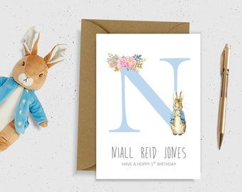pink/blue PERSONALISED new baby card 2 year old card HAPPY 1st Birthday Card Baby card Peter Rabbit Card Birthday Card 1 first birthday boy