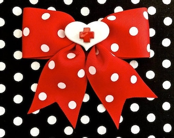 SALE - Hello Nurse Heart and Polka Dots Red Hair Bow
