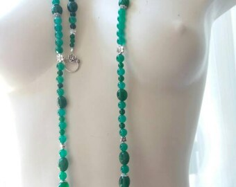 Jade and Emerald parure natural and certified with Tibetan silver elements
