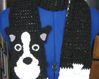 Border Collie - Scarf Crochet Pattern - With Tutorials - Intermediate Pattern - Boarder Collie Scarf Pattern - Animal Scarf Pattern