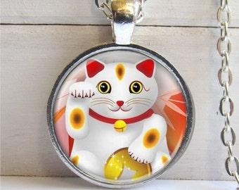 Maneki Neko Art Pendant, Lucky Cat Charm, Necklace