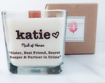 NEW Personalized Maid of Honor Candle~Bridesmaids Gift~ Maid of Honor Gift~Personalized Bridesmaid Gifts~Wedding Candles~Bridesmaid Proposal