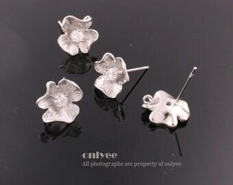 1pair/2pcs-11mmX11mmRhodium plated Brass Zircon Earrings Shapely Stone Flower Hook Ear post(K534S)