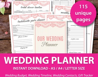Wedding Planner, Printable Wedding Planner, Wedding Budget, Wedding Bundle, Wedding Checklist, Wedding Timeline Template, Bridal Planner