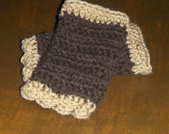 Hazelnut Coffee. Bohochic crochet Arm Warmers Fingerless Gloves Scalloped coffee chocolate brown &  fawn yarn Victorian style Folk fashion